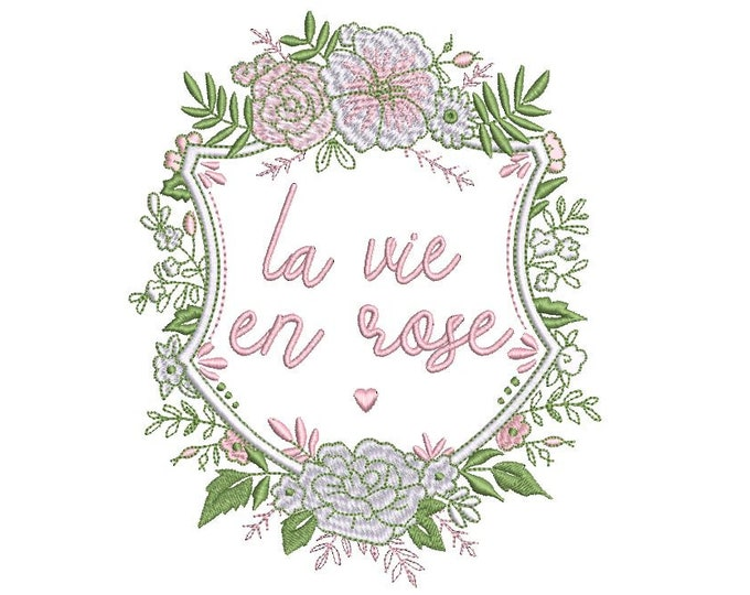 La vie en rose Crest Machine Embroidery File design 5x7 inch hoop - Monogram Frame