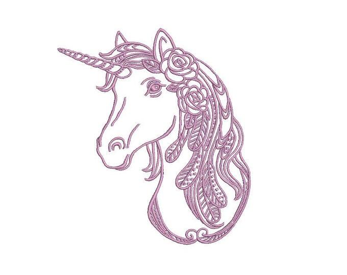Unicorn Embroidery Design - Machine Embroidery Boho Unicorn - File design 5x7 hoop - Instant download
