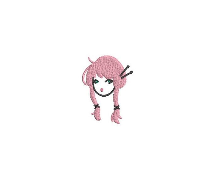 Harajuku Girl Mini 6cm - Machine Embroidery File design - 4x4 inch hoop - Instant download - Kawaii Design