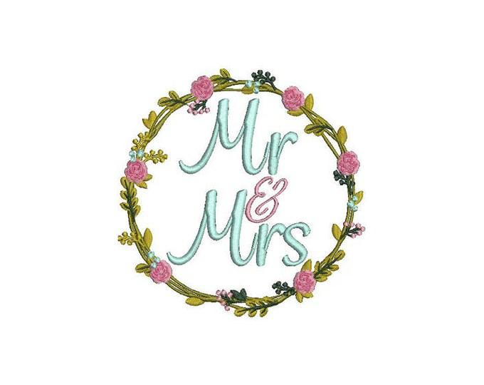 Mr & Mrs Wreath Machine Embroidery File design -  5x7 inch hoop -  Wedding Embroidery Design