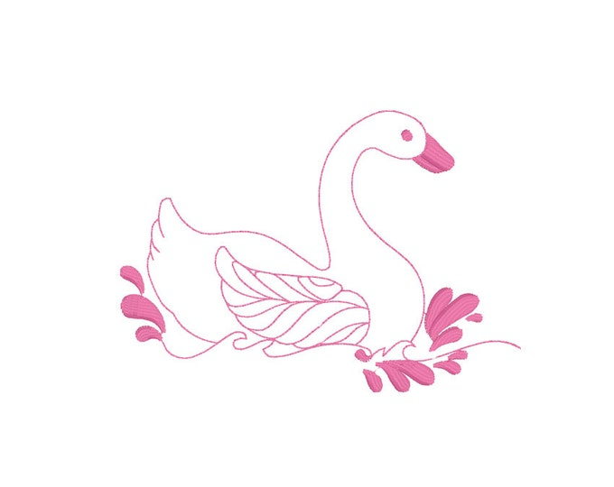 Swan Lake Machine Embroidery File design 5x7 inch hoop - instant download ITH
