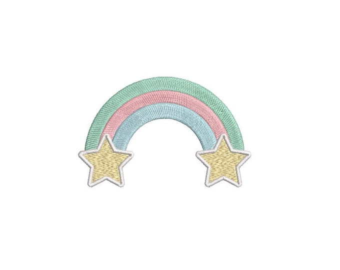 Rainbow and Stars - Machine Embroidery File design - 4 x 4 inch hoop - Instant Download