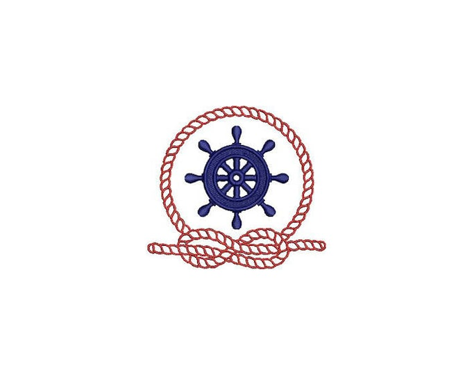 Ships Wheel and Rope Nautical Machine Embroidery File design 4x4 inch hoop - Monogram