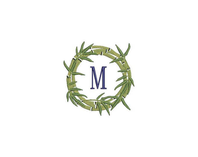 Bamboo Frame Machine Embroidery File design - 4 x 4 inch hoop -  Monogram