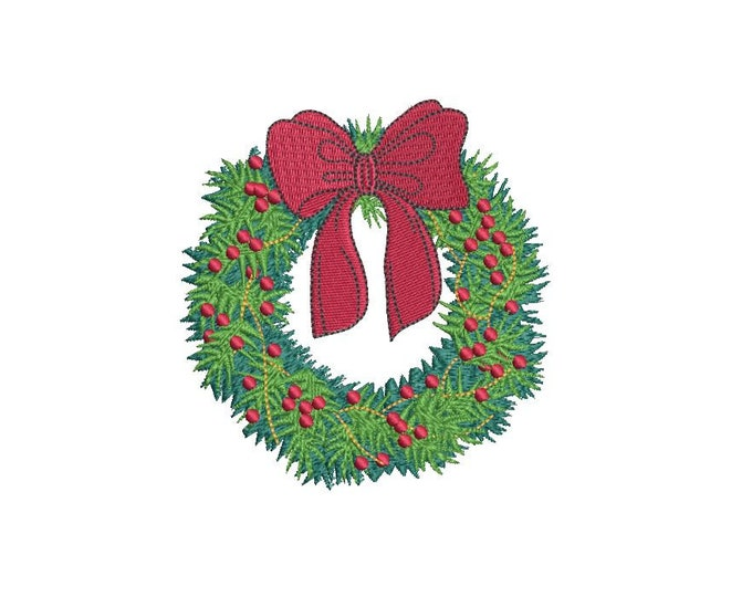 Holly Wreath Christmas Embroidery - Machine Embroidery File design - 4x4 inch hoop - Christmas Embroidery Design