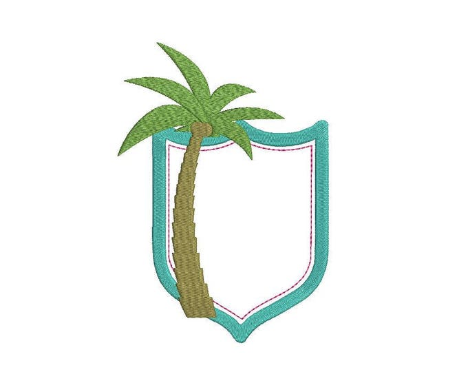 Palm Tree Crest Machine Embroidery File design 5x7 inch hoop - Monogram Frame - instant download