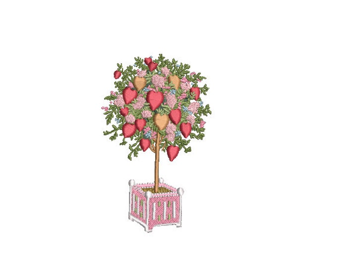 Valentines Hearts Topiary Tree - Machine Embroidery File design - 4 x 4 inch hoop - Love Embroidery