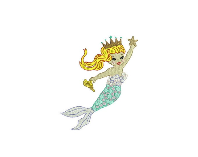 Princess Queen Mermaid Machine Embroidery File design 5x7 inch hoop - instant download