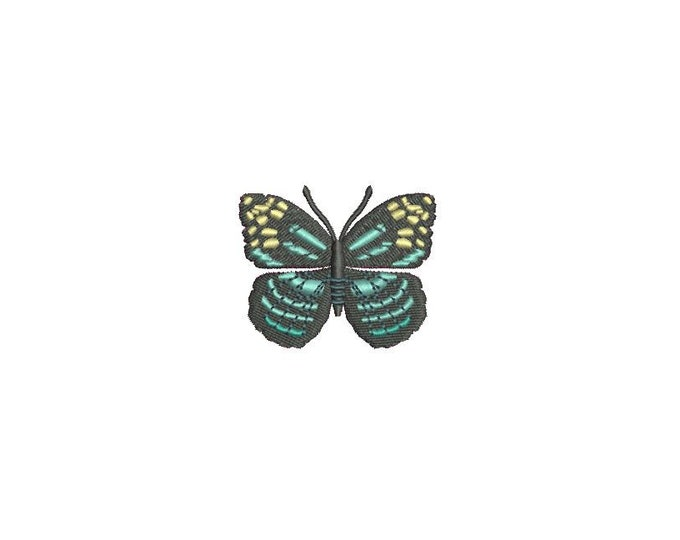 Turquoise Butterfly 3 Machine Embroidery File design 4x4 inch hoop - Mini 6cm