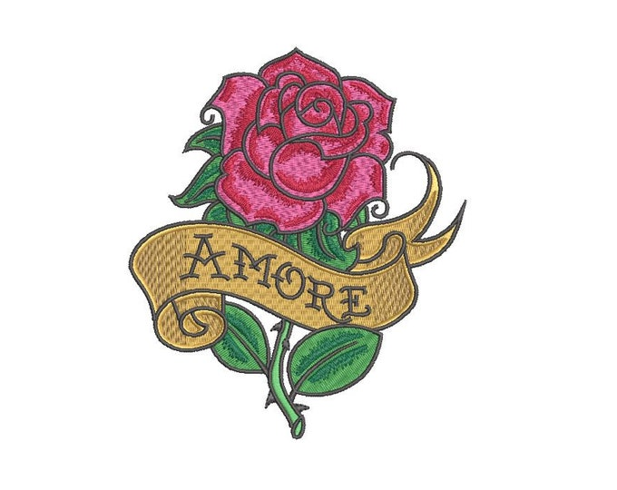 Amore Rose Tattoo Machine Embroidery File design 5 x 7 inch hoop - instant download