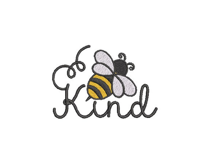 Bee Kind embroidery - Machine Embroidery File design - 4 x 4 inch hoop - Bee embroidery design