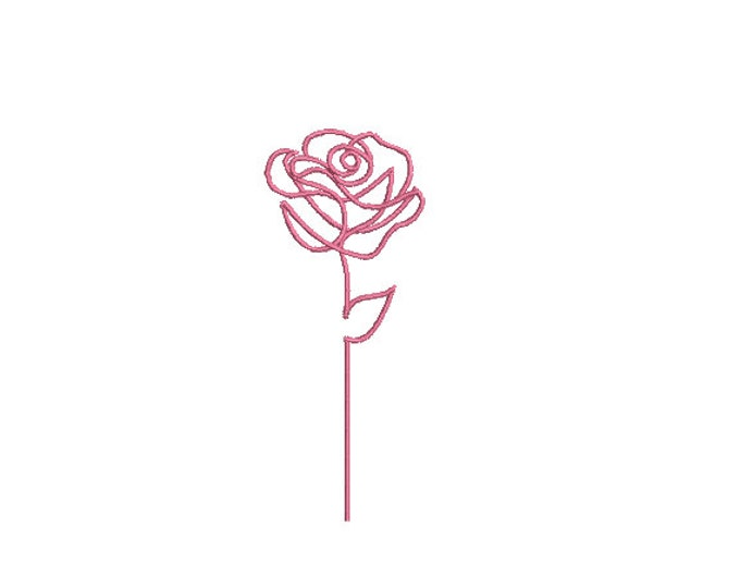 Continuous Line Art Rose Outline Machine Embroidery File design - 4 x 4 inch hoop - Rose Stem