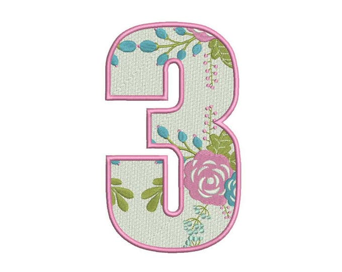 Number 3 - THREE - Floral - Third Birthday-  Machine Embroidery File design - 5x7 hoop - embroidery design