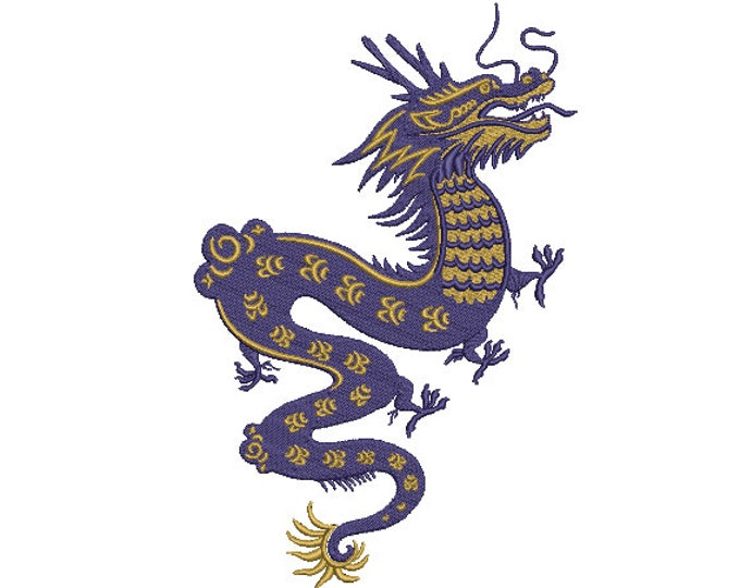 Chinese Dragon Embroidery Design -  Urban Modern Machine Embroidery File design - 6x10 inch hoop - instant download