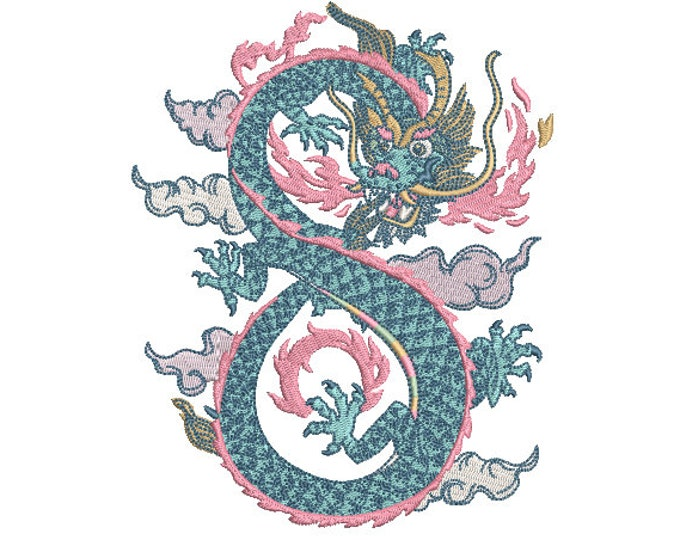 Beautiful Dragon Embroidery Design -  Urban Modern Machine Embroidery File design - 5x7 inch hoop - instant download