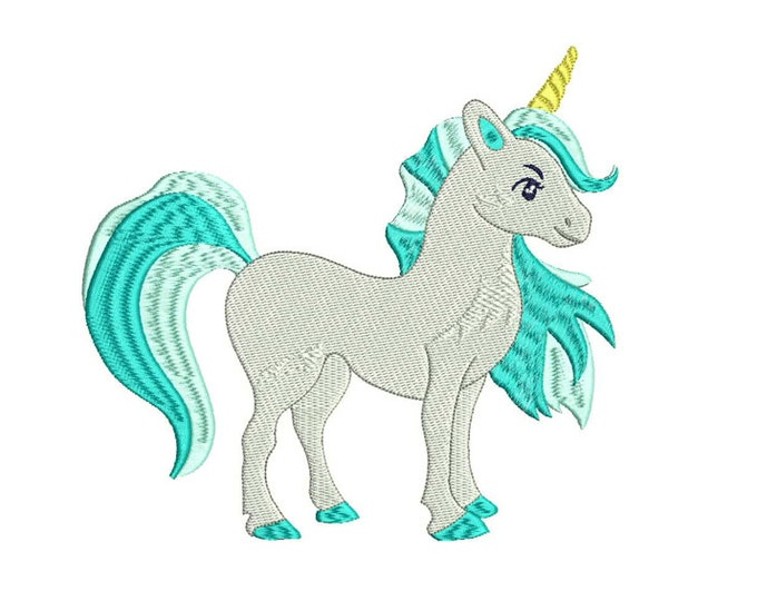 Unicorn Embroidery Design - Aqua Unicorn Machine Embroidery File design 7x12 inch or 18x30cm hoop - Instant Download
