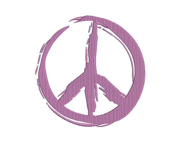 Graffiti Painted Peace Sign - Machine Embroidery File design - 5x7 inch hoop -  instant download