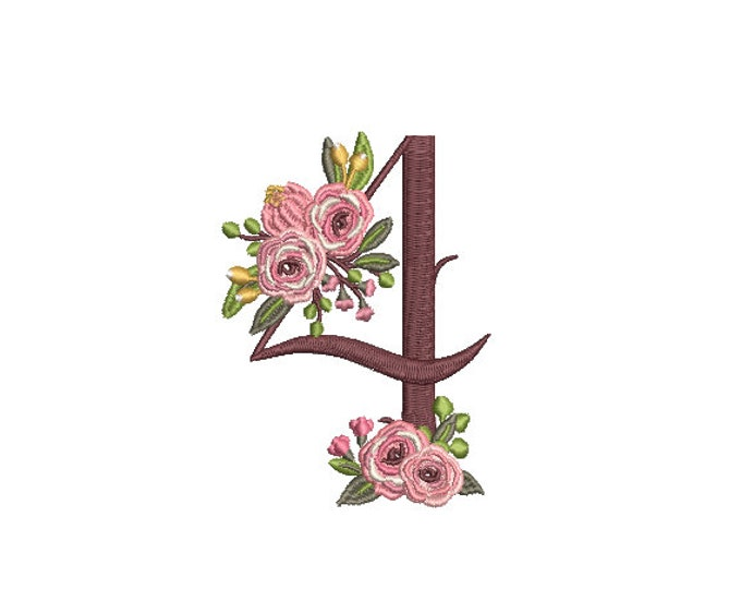 Floral Number 4 - FOUR - Fourth  Birthday-  Machine Embroidery File design - 4x4 hoop - embroidery design