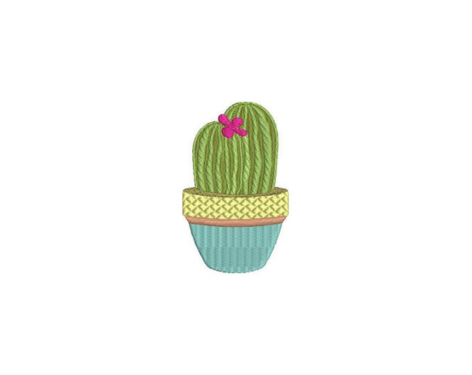Kawaii Cactus 3 Machine Embroidery File design 4 x 4 inch hoop Makes a great Patch