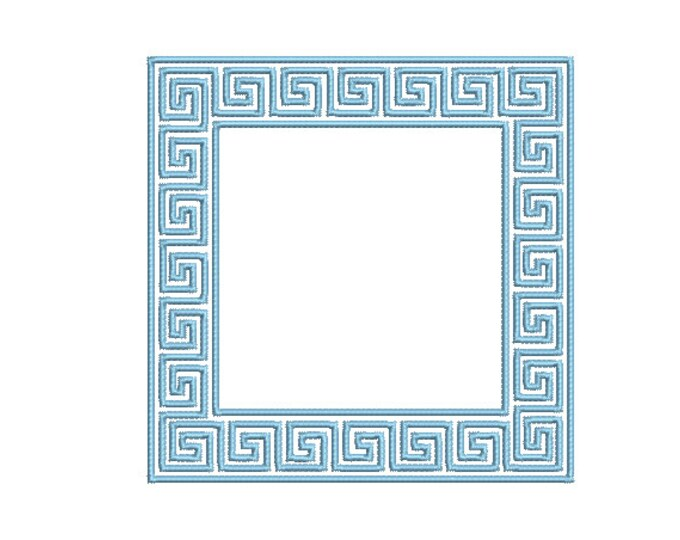 Greek Key Square Monogram Frame -  Machine Embroidery File design -  4x4 hoop - Square Border Frame