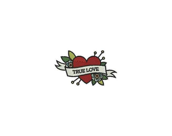 True Love Rose Heart Tattoo Retro Machine Embroidery File design 4 x 4 inch hoop