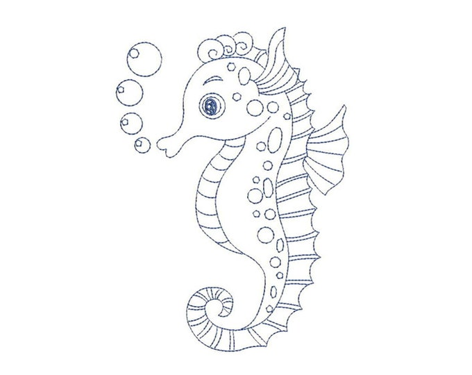Seahorse Outline Embroidery Redwork Machine Embroidery File design 5x7 hoop - instant download
