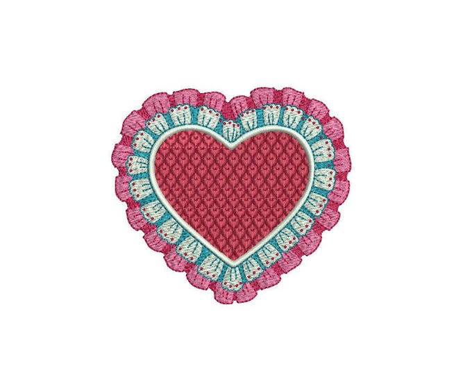 Valentines Lace Red Heart Machine Embroidery File design 4 x 4 inch hoop
