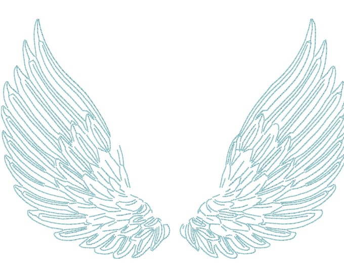 Wings Embroidery Design - Machine Embroidery Whimsical Delicate Feathered Wings Machine Embroidery File design 5x7 inch hoop