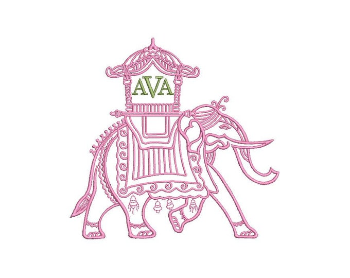 Chinoiserie Chic - Monogram Elephant 2 -Machine Embroidery File design  - 5x7 hoop - instant download