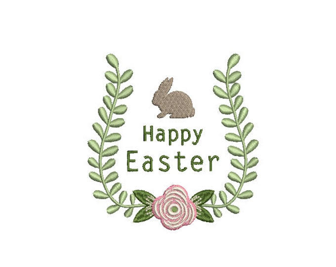 Happy Easter Bunny Laurel Machine Embroidery File design - 4x4 inch hoop - Easter Embroidery