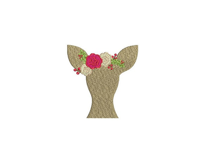 Deer & Flowers Silhouette Embroidery - Christmas Machine Embroidery File design 4x4 inch hoop - instant download