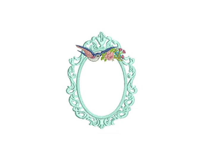 Vintage Bird Frame Machine Embroidery File design 4 x 4 inch hoop ITH