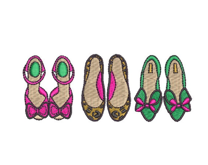 Featured listing image: Fancy Shoes Machine Embroidery File design - 4x4 hoop - instant download - shoe addict design