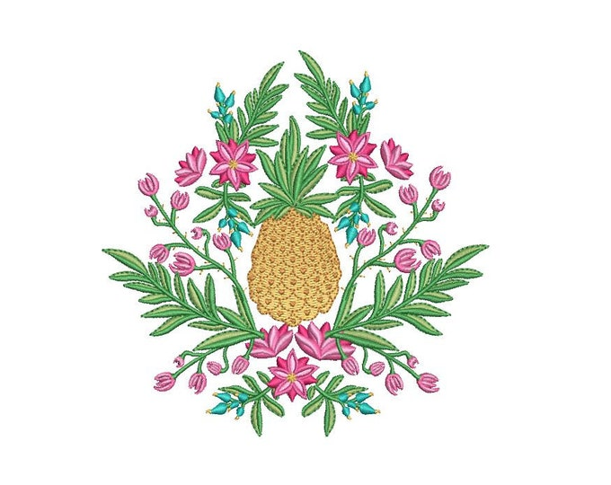 Pineapple Floral Embroidery - Machine Embroidery File design - 5x7 hoop - Instant download