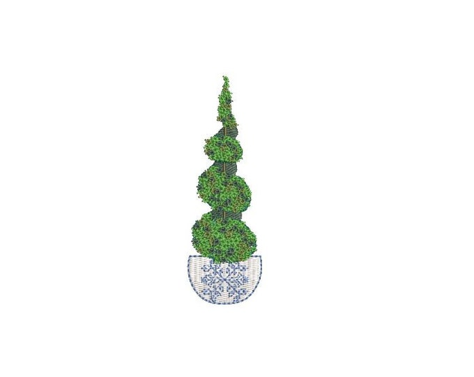 Chinoiserie Boxwood Twirl Tree Embroidery - Hamptons Pot Plant - Machine Embroidery File design - 4 x 4 inch hoop - Instant Download