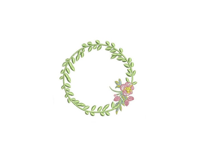 Machine Embroidery Whimsical Flower Wreath Machine Embroidery File design 4x4 inch hoop - In the hoop applique