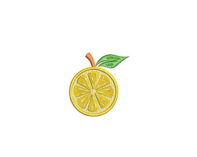 Lemon Mini Sliced Citrus - Machine Embroidery File design - 6cm - 4 x 4 inch hoop  - embroidery patch design