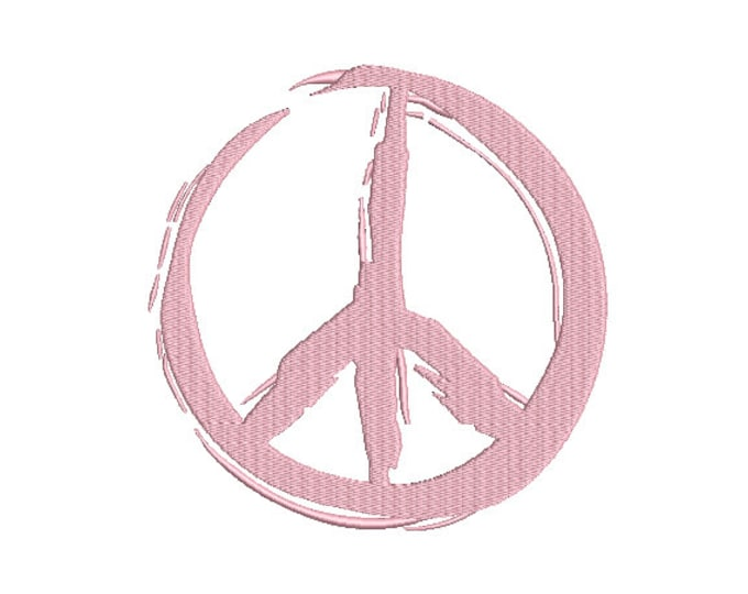 Graffiti Painted Peace Sign - Machine Embroidery File design - 7x12 inch hoop -  instant download