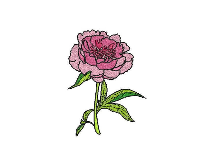 Shabby Peony Stem Machine Embroidery File design 5 x 7 inch hoop - Silhouette