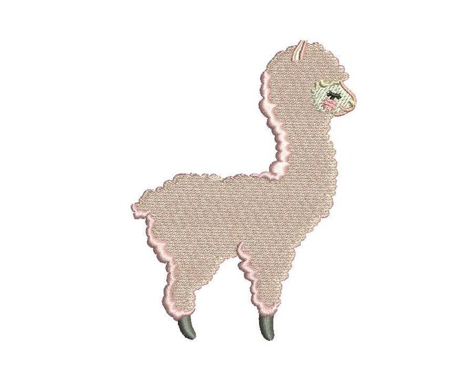 Baby Pink Llama Alpaca Machine Embroidery File design 4x4 inch hoop - instant download