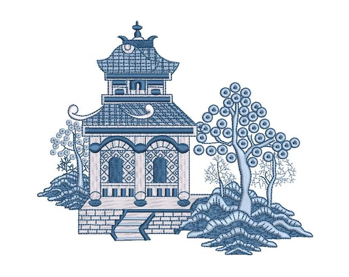Chinoiserie Chic Blue Willow Pagoda -  Machine Embroidery File design - 6x10 inch hoop