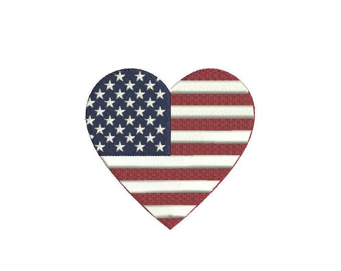 American Flag Heart 9cm - Machine Embroidery File design 4 x 4 inch hoop - love
