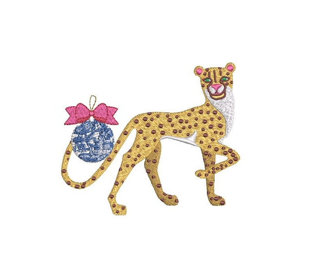 Chinoiserie Ornament Cheetah Machine Embroidery File design - 4x4 inch hoop - Chinoiserie Chic - Instant Download