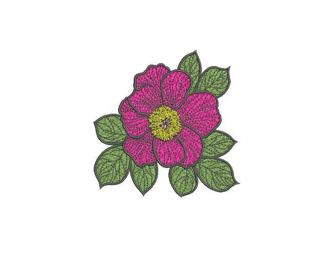 Pink Peony Machine Embroidery File design 4 x 4 inch hoop - Flower Design - Instant download