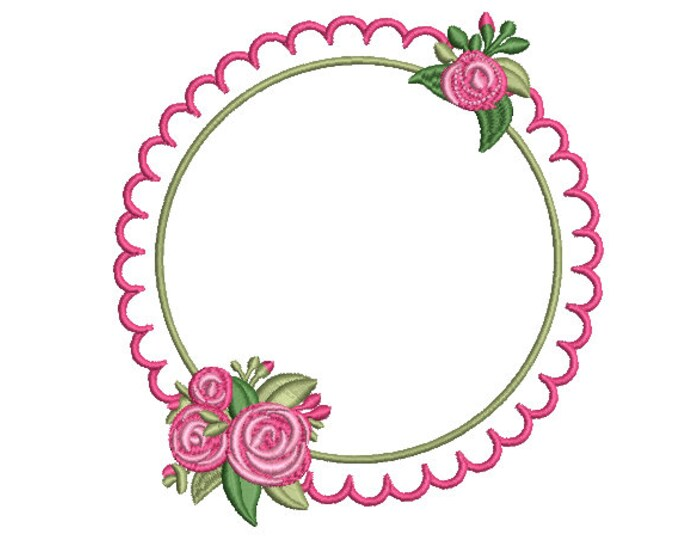 Scalloped Round Rose Monogram Frame - Machine Embroidery File design - 5 x 7 inch hoop