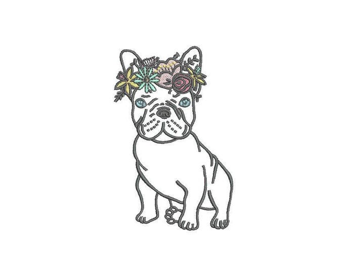French Bulldog Flowers Outline Machine Embroidery File design 4x4 inch hoop Frenchie Embroidery