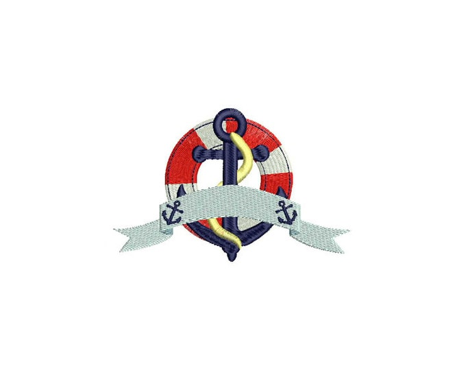 Retro Vintage Anchor & Buoy Banner Nautical Machine Embroidery File design 5x7inch hoop - Instant Download