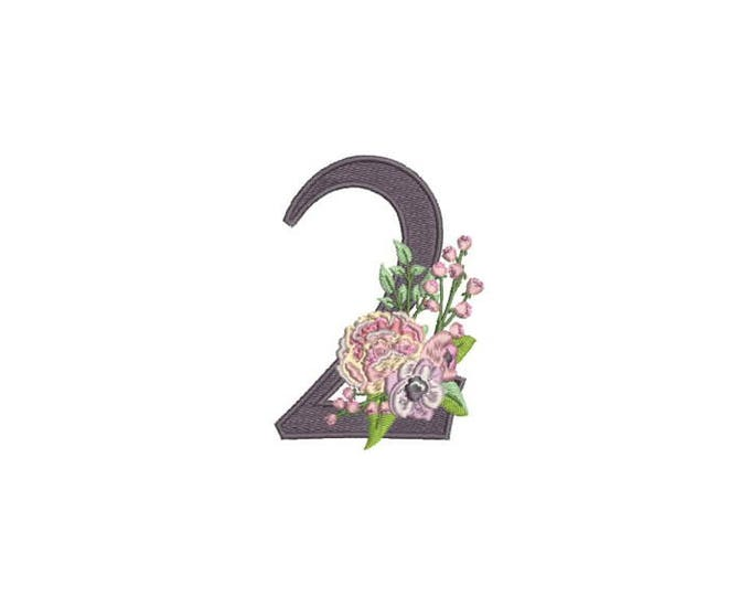Number 2 - TWO - Bouquet - Second Birthday-  Machine Embroidery File design - 4x4 hoop - embroidery design