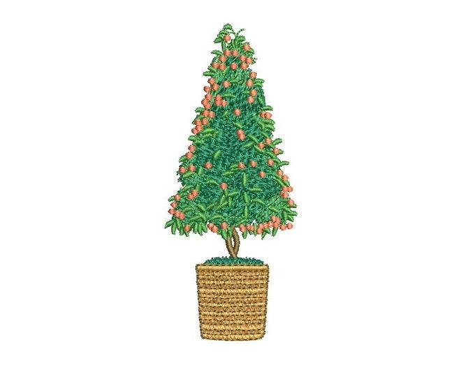 Christmas Kumquat Tree - Machine Embroidery File design - 4 x 4 inch hoop - Cumquat Xmas Tree Embroidery