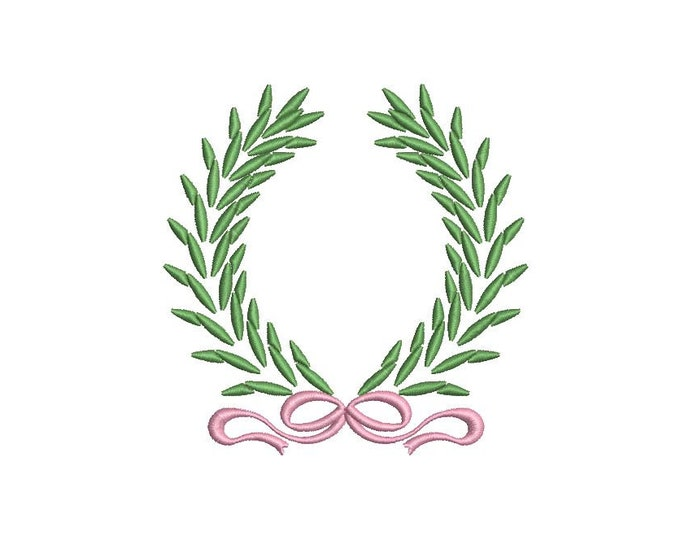 Laurel Bow Wreath Monogram Frame Machine Embroidery File design 4x4 inch hoop
